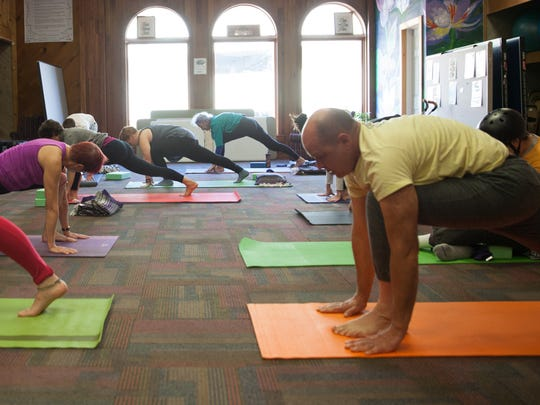 A class instructed by Eileen Cleland, Monday morning at the Turning Point Center in Burlington.