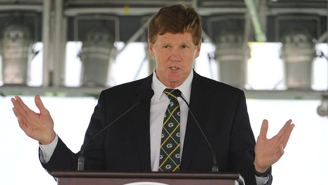 Green Bay Packers President and CEO Mark Murphy addresses shareholders gathered in Lambeau Field on Thursday for the annual shareholders meeting.