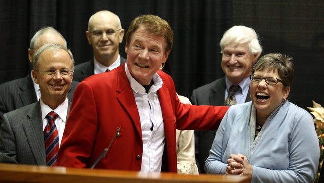 Danny Wegman congratulates Anne Kress, MCC president, and others in the Finger Lakes Council after the group was awarded .2 million as part of round two of the Regional Economic Development Council initiative. Jamie Germano/ Staff Photographer Danny Wegman congratulates Anne Kress, MCC  president, and others in the Finger Lakes Councilafter the group was awarded $96.2 million as part of Round Two of the Regional Economic Development Council initiative.