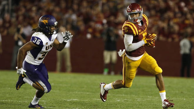 Northern Iowa defensive back Jordan Webb (36) gives chase as Iowa State wide receiver Allen Lazard (5) runs the ball Saturday, Sept. 5, 2015, at Jack Trice Stadium in Ames.