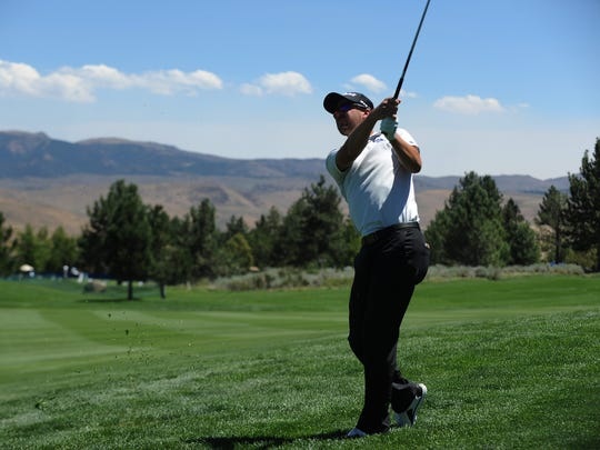 Recent Nevada graduate and golfing great Grant Booth plays in the Barracuda Championship golf tournament at the Montrux Golf and Country Club in Reno on Aug. 2, 2018.