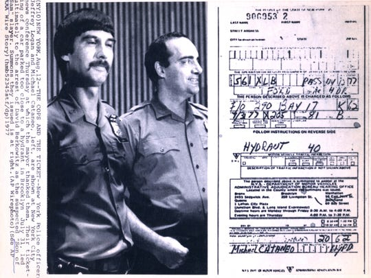 "New York City police officers Jeffrey Logan and Michael Cataneo are thanked by Mayor Ed Koch Aug. 12, 1977. Their ticketing of a car parked too close to a hydrant in Brooklyn July 31 ultimately led to the arrest of David Berkowitz as the suspected ""Son of Sam. The summons is also pictured. ( AP Photo)"