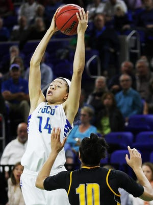 KINFAY MOROTI/THE NEWS-PRESS.. FGCU's Whitney Knight rebounds against Kennesaw State recently at Alico Arena in Fort Myers.