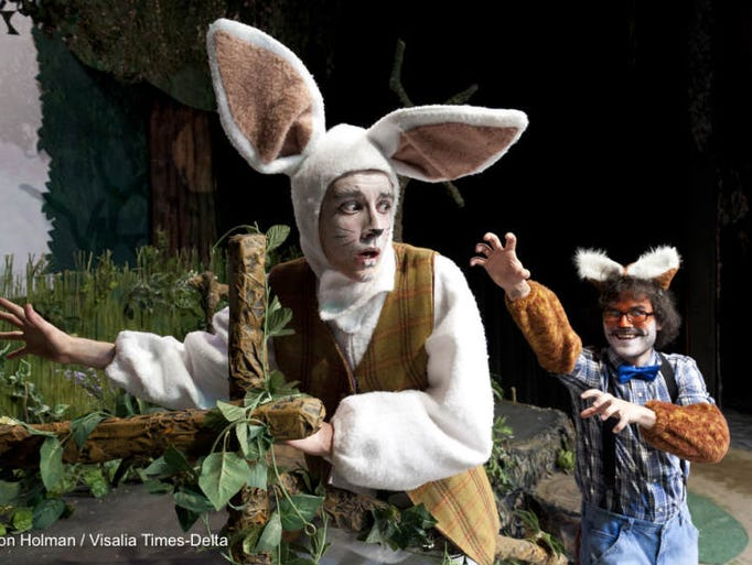 """Zach McGuire, left, and Levi Mauricio rehearse for Enchanted Playhouse's production of """"The Adventures of Peter Cottontail"""" at the Main Street Theatre."""