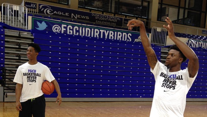 FGCU freshman guards Reggie Reid, right, and Rayjon Tucker will contribute to FGCU's enhanced athleticism this season.