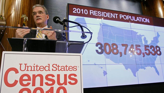Census Bureau Director Robert Groves announces results for the 2010 U.S. Census at the National Press Club, Tuesday, Dec. 21, 2010 in Washington.