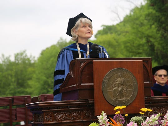 Vassar president Elizabeth Bradley addresses those