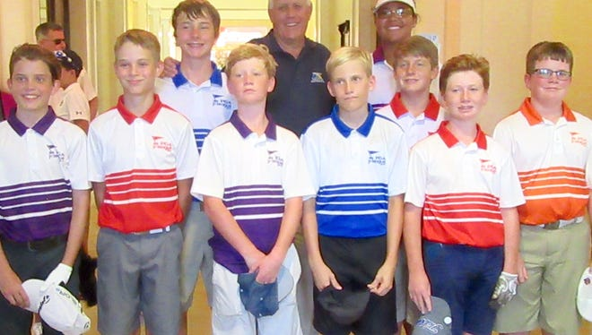 The Indian River Golf Foundation Players Club All Stars won the 2017 South Florida PGA Junior League Golf sub-regional tournament Sunday at Willoughby Golf Club in Stuart. In the finals, the Indian River Golf Foundation defeated Don Law Golf Academy of Boca Raton, 7 1/2 to 3 1/2. Team members pictured front from left are Tennessee Cox, Peter Natoli, Elliot Stevens, James Hassell, Henry Stevens and Jackson Hiller. Back from left, Raines Holmes, coach Roger Van Dyke, Angelica Holman and William Dunlap. Not pictured, Steven Scott.