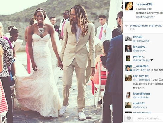 Glory Johnson posted this photo from her wedding to
