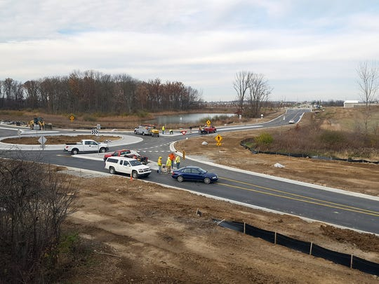 Noblesville has opened a $2.8 million extension of Brooks School Road to link to Cabela's Parkway, where a Duluth Trading Co. is under construction.