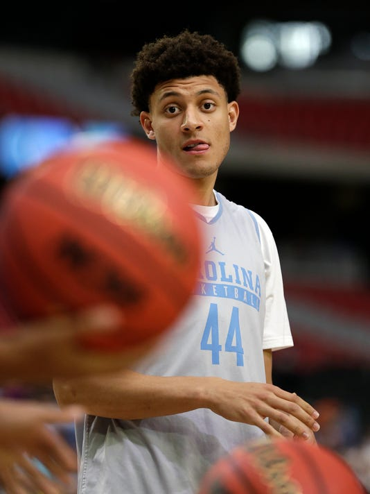 North Carolina's Justin Jackson warms up during a practice session for their NCAA Final Four tournament college basketball semifinal game Friday, March 31, 2017, in Glendale, Ariz. (AP Photo/David J. Phillip)