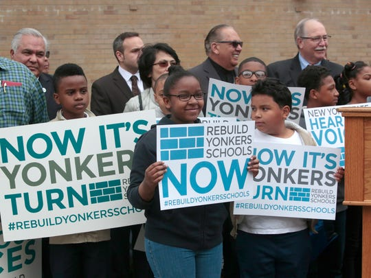 Yonkers students attend a rally May 4 at the Martin