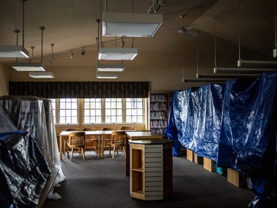 The Yale public library, which is part of the St. Clair County Library System, has been closed since April 18 due to issues with excessive moisture. Bookshelves have been covered in plastic and tarps to protect books from moisture.