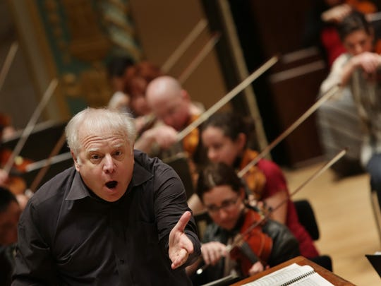 The Detroit Symphony Orchestra led by Leonard Slatkin rehearses in preparation for their first trip to Carnegie Hall in 17 years on Monday, May 6, 2013 at the Max M. Fisher Music Center in Detroit.Romain Blanquart/ Detroit Free Press