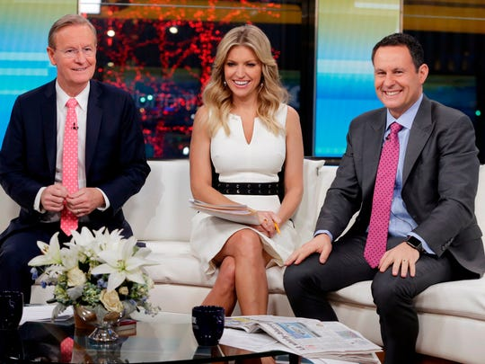"""""""Fox & Friends"""" co-hosts (from left) Steve Doocy, Ainsley"""