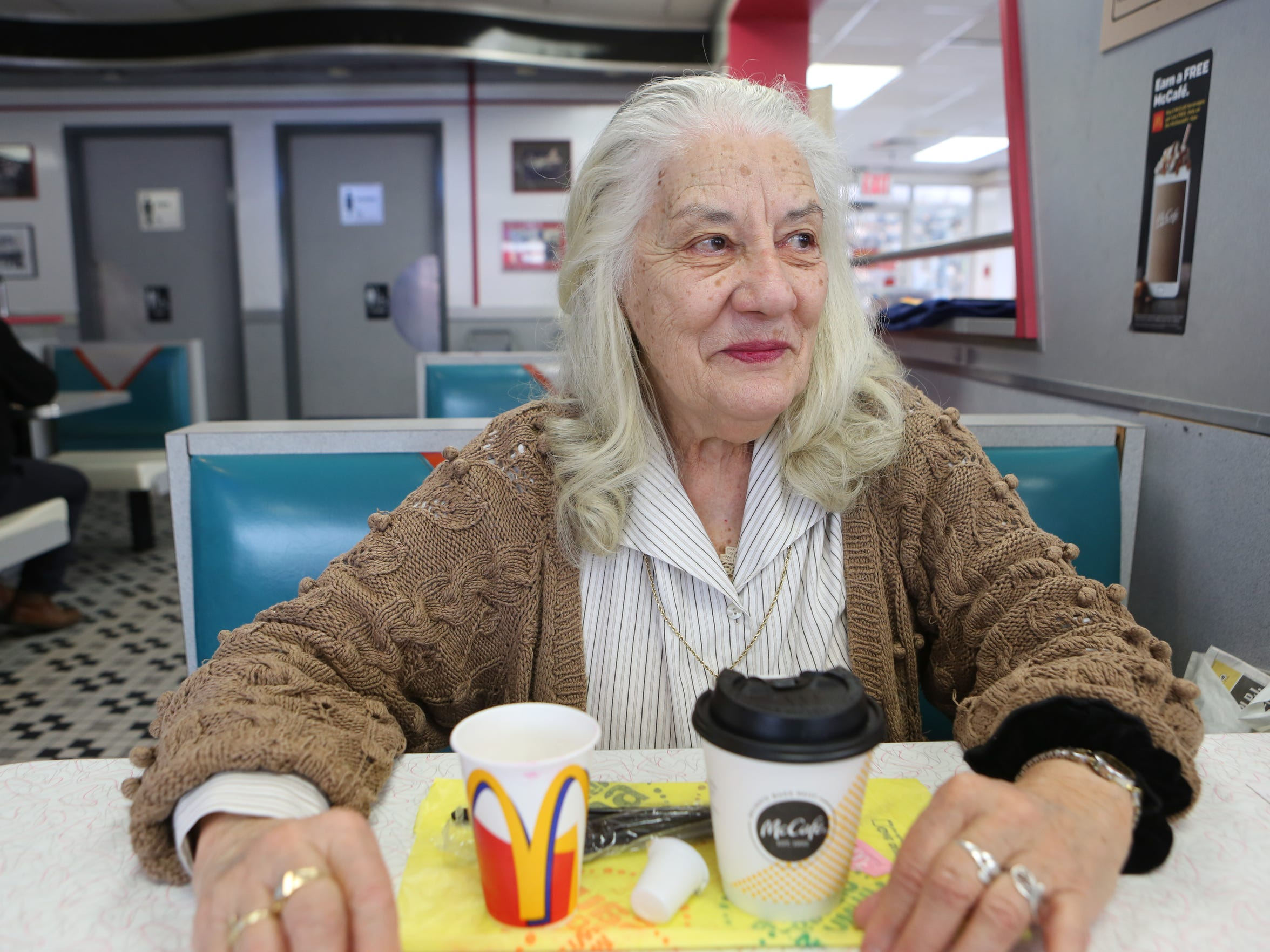 Chaplain Rosemary Parandelis at McDonald's in Mamaroneck,