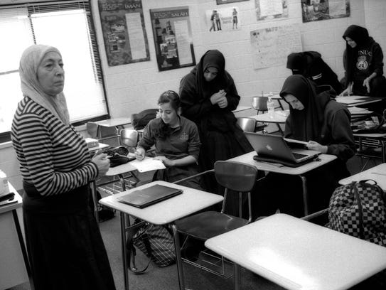 Young women in class at the Aqsa School in Bridgeview,