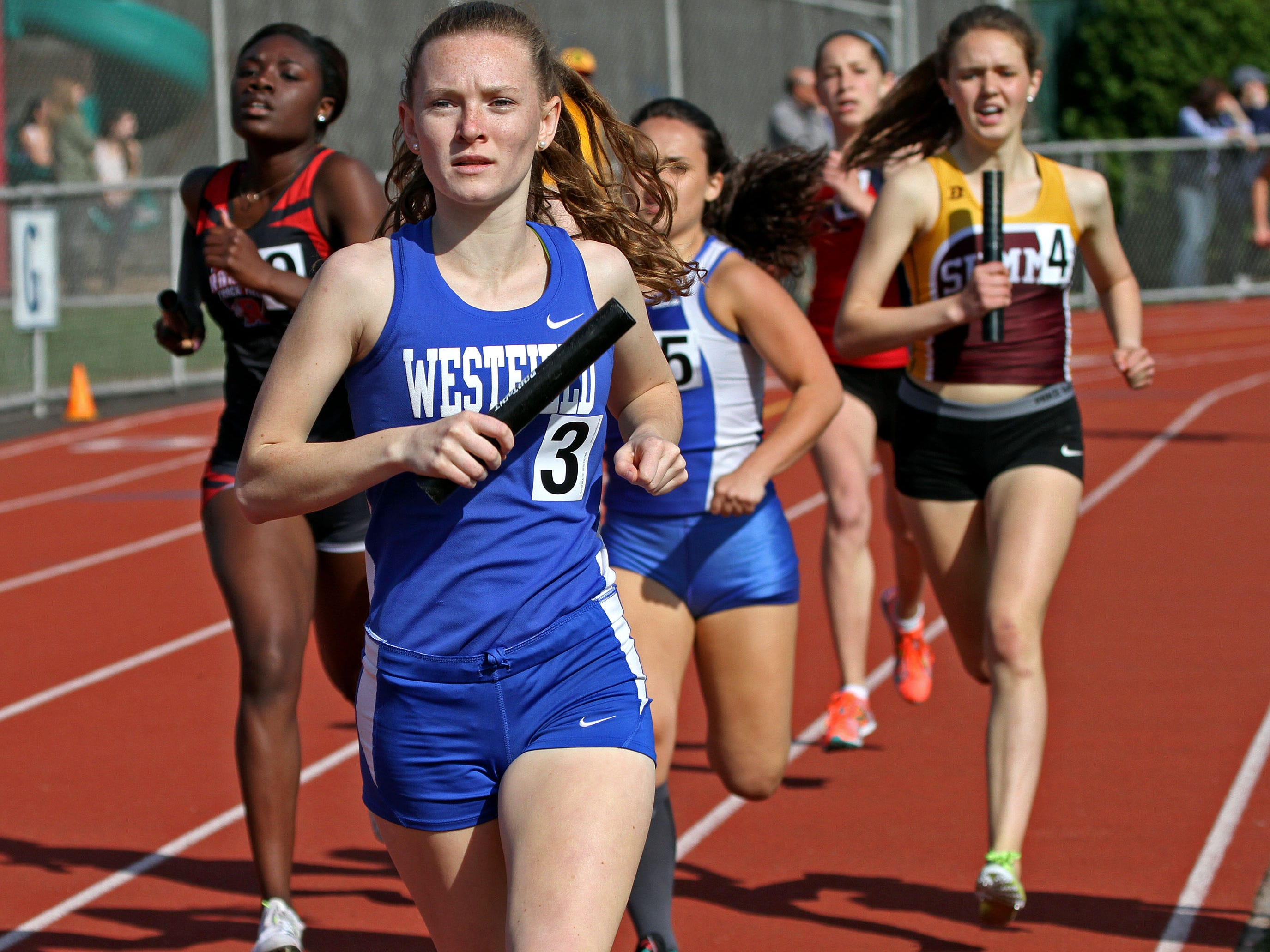 Westfield's Julia Myers runs the first leg of the girls 4x800. This is action of the Union County Track and Field Relays.
