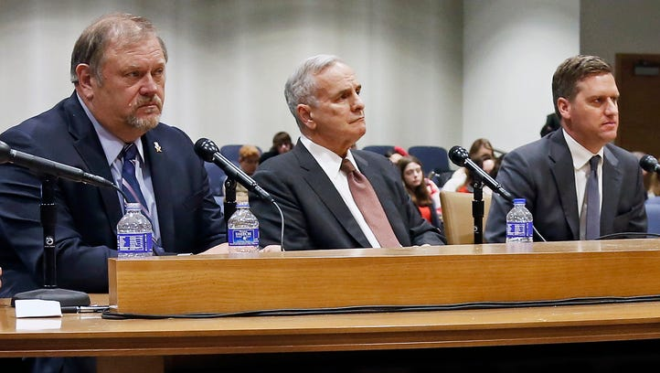Minnesota Gov. Mark Dayton, center, sits between Senate Majority Leader Tom Bakk, left, and House Speaker Kurt Daudt, right, as top lawmakers met shortly before the 2016 legislative session opened in March. With less than 30 days left in the session, there are big differences in their respective positions on key bills.