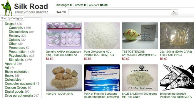 Products allegedly available through the Silk Road site.