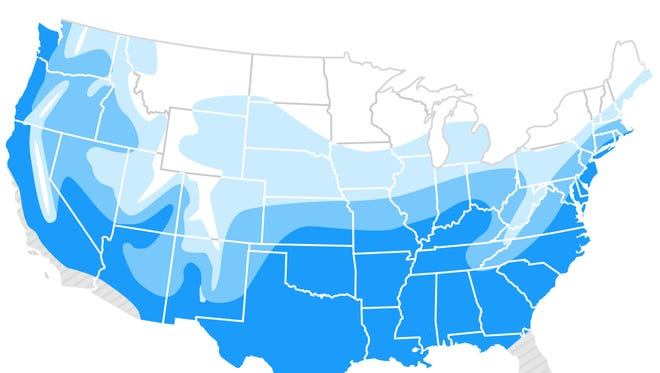 This map shows the historical probabilities of a white Christmas.