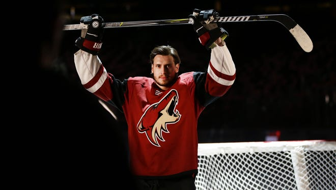 The Coyotes' Oliver Ekman-Larsson poses during a media day video shoot on Sept. 14 at Gila River Arena in Glendale.