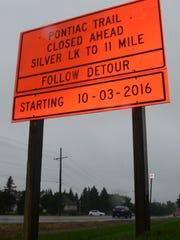 A sign describes the closure.