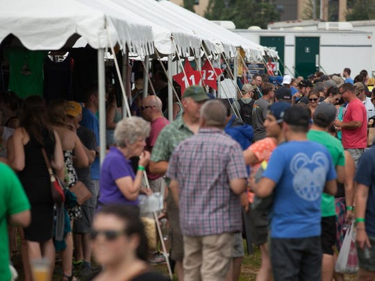 Crowds wait in line Saturday morning at the Vermont Brewers Festival.