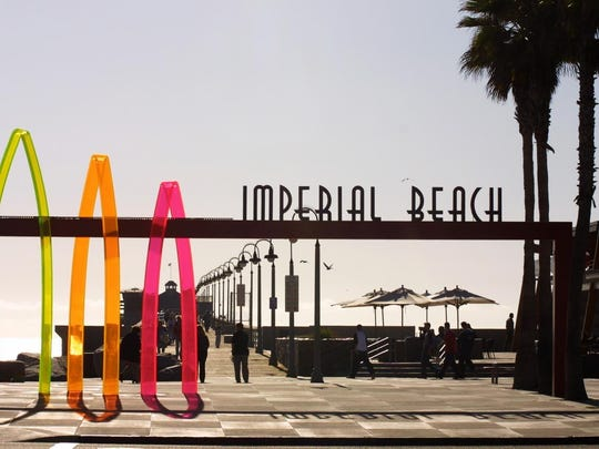 Salutes to Imperial Beach's surfing history can be found everywhere, including an outdoor surf museum that lines the main street.