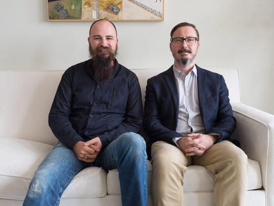 "Jesse Thorn (left) and John Hodgman of the ""Judge John Hodgman"" podcast will be bringing the show to Brooklyn and Philadelphia."