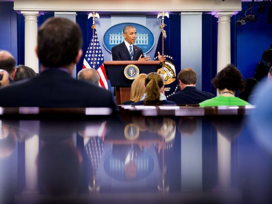 President Barack Obama speaks in the White House briefing room in Washington,Thursday, June 23, 2016, on the Supreme Court decision on immigration. A tie vote by the Supreme Court is blocking President Barack Obama's immigration plan that sought to shield millions living in the U.S. illegally from deportation.