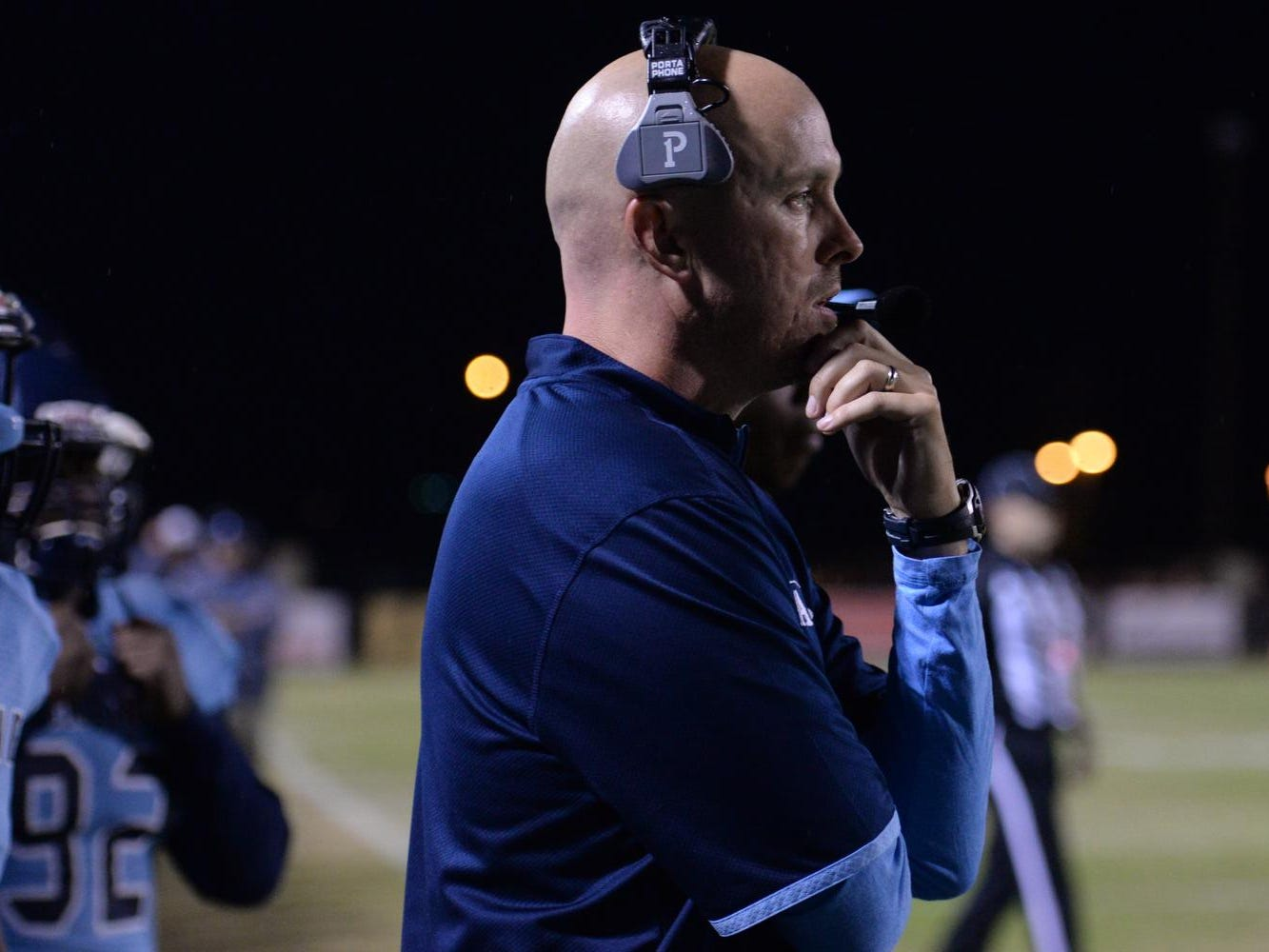 Airline coach Bo Meeks looks on during their game with Byrd Friday at Airline High School.