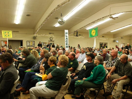 About 200 people turned out on a Sunday in October 2016 at the Redding Senior Center to support the state of Jefferson movement to create a new state in Southern Oregon and Northern California. (Nathan Solis/Record Searchlight)