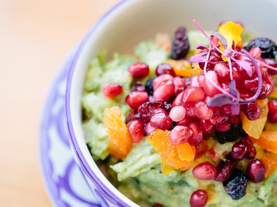 Dried fruit and pomegranate guacamole from SumoMaya.