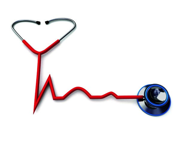 Photo illustration of red stethoscope forming a heartbeat shape with the tube over white background Credit: Fanatic Studio, Getty Images Thinkstock GETTY ID#: 170885964