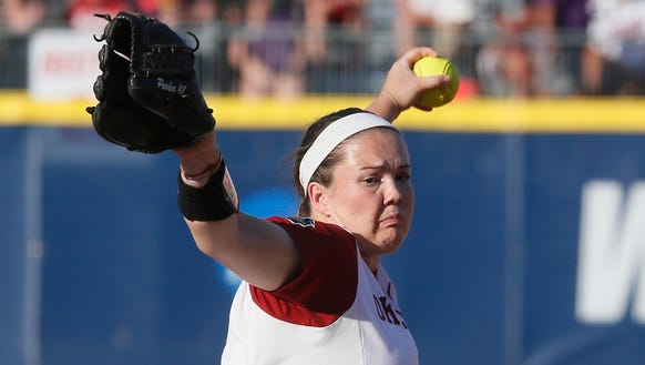 Oklahoma's Paige Parker pitches against Auburn during