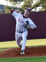 Pineville pitcher Brady Weatherford (20) hurls a pitch