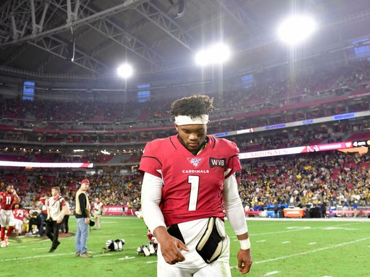 Dec 8, 2019; Glendale, AZ, USA; Arizona Cardinals quarterback Kyler Murray (1)reacts after losing to the Pittsburgh Steelers at State Farm Stadium. Mandatory Credit: Matt Kartozian-USA TODAY Sports