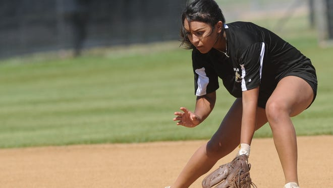 Abilene High shortstop Alyssa Washington fields a grounder during practice Wednesday at Abilene High.