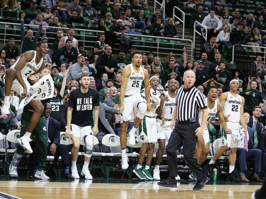 MSU basketball celebrate (Couch column)