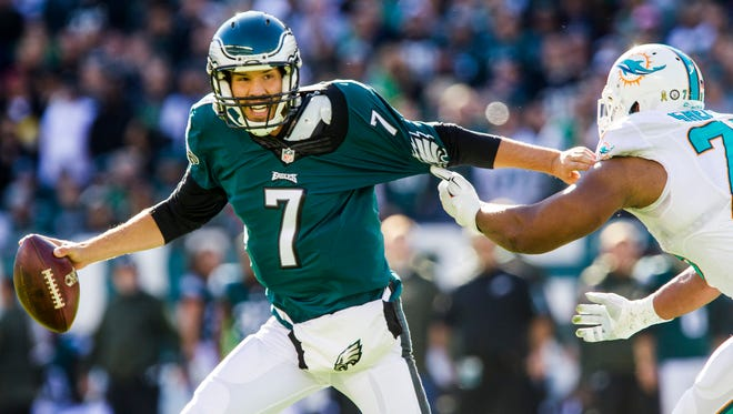 Eagles quarterback Sam Bradford has missed the last two games with a concussion and shoulder injury suffered Nov. 15 against the Miami Dolphins.