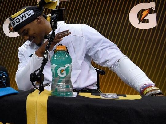 Carolina Panthers quarterback Cam Newton demonstrates