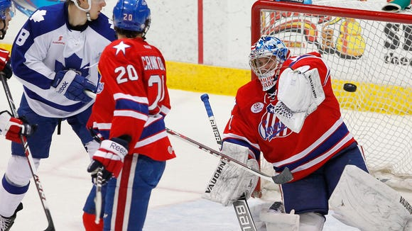 Amerks goalie Andrey Makarov, shown here against the Marlies last week, is now 2-3 in five AHL starts.
