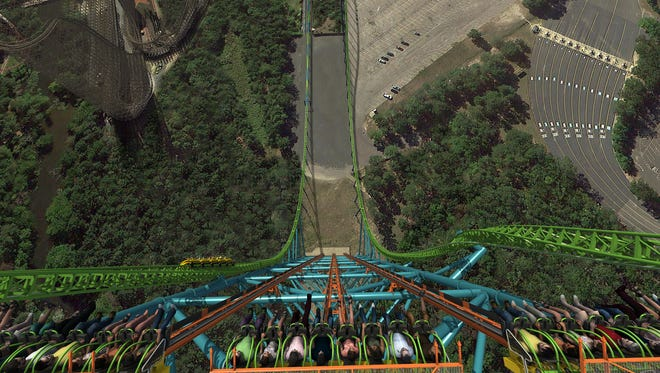 Six Flags Great Adventure's newest attraction - the Zumanjaro: Drop of Doom. Six Flags says the ride is the world's tallest drop tower.