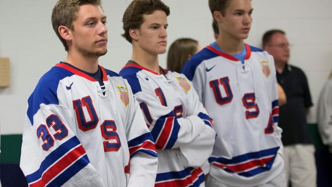 From left, Dylan St. Cyr, Josh Norris and Logan Cockerill are members of the NTDP squads that will play at the USA Hockey Arena in Plymouth.