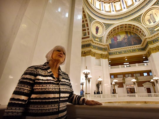 Pa. State Representative Mauree Gingrich, R-101, pauses in between legislative session and a House Rules Committee meeting at the Pennsylvania State Capitol Building in Harrisburg on Oct. 19.