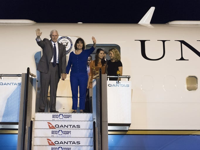Pence and his family arrive at Sydney International
