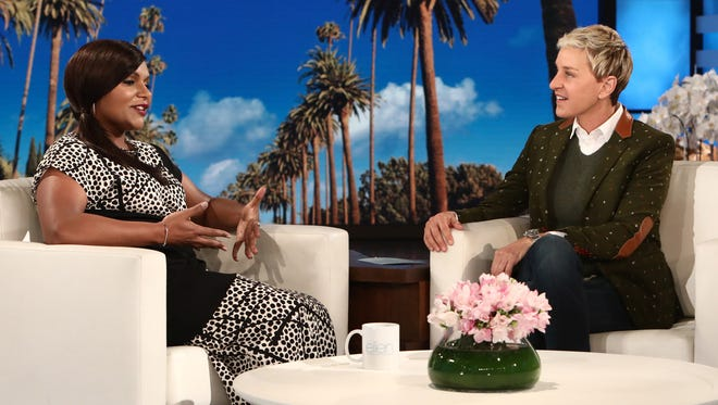 A pregnant Mindy Kaling appears on 'The Ellen DeGeneres Show' on Oct. 13.