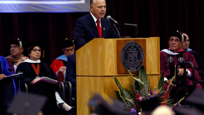 Senator Joe Pennacchio speaks during the inauguration of Dr. Anthony J. Iacono, third president of the County College of Morris. October 6, 2017. Randolph, New Jersey
