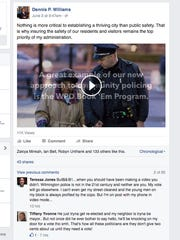 A screen capture shows a public safety video on the government Facebook account of Wilmington Mayor Dennis P. Williams. The incumbent is facing re-election.
